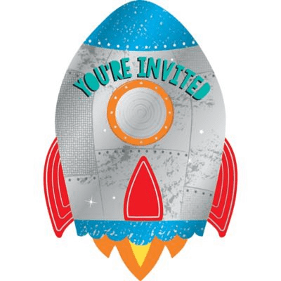 """Blast Off"" Space Party Invitations 