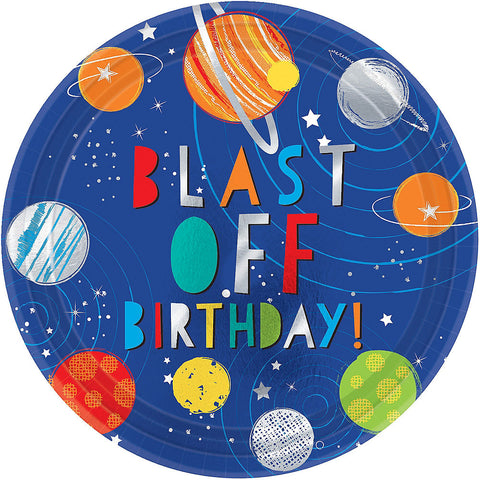 """Blast Off"" Space Party Lunch Plates 10.5"" 