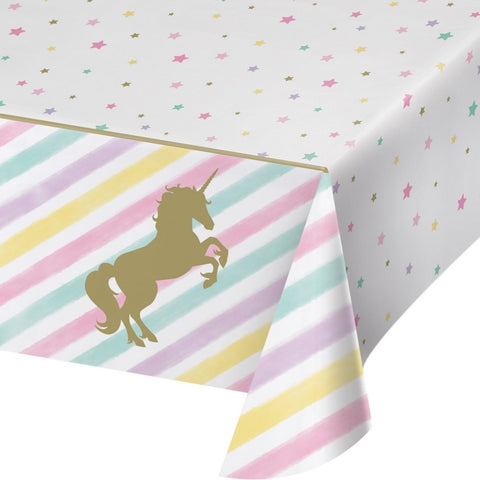 "Sparkle Unicorn Plastic Table Cover 54""x102"" 