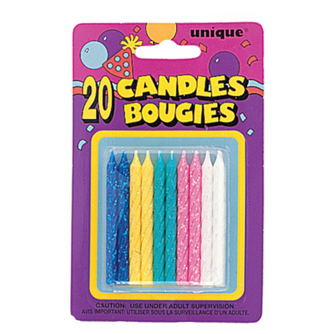 Bright Glitter Birthday Candles | 20ct