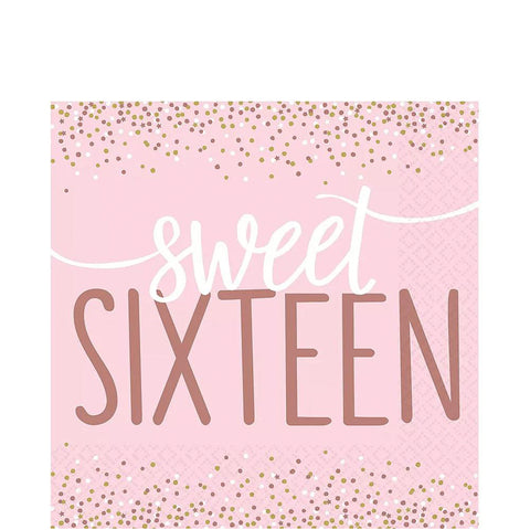 Sweet 16 Pink Lunch Napkins | 16ct