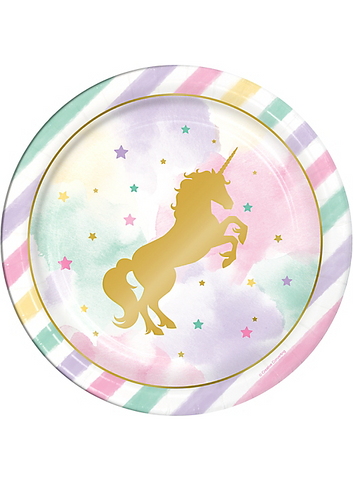 Sparkle Unicorn Lunch Paper Plates 9"