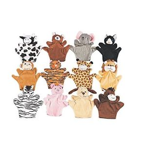 Animal Velour Hand Puppets | 12ct