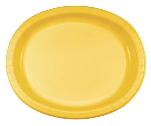 Yellow Sunshine Dinner Oval Paper Plates | 8ct