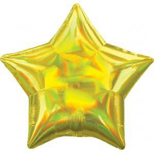 Yellow Iridescent Star Balloon, 18'' | 1 ct