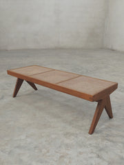 Teak and Cane Bench