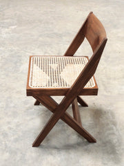 pierre jeanneret cane seat wood back chair