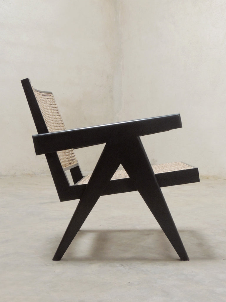 Mid Century Design Inspired Easy Armchair In Black For