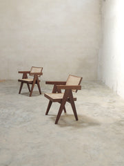 Pair of Pierre Jeanneret Office chairs or office cane chairs