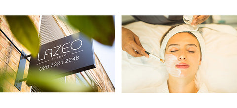 Image of the Lazeo spa sign and woman having a treatment.