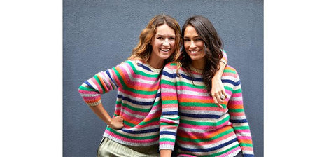 Two influencers wearing matching mohair stripe jumpers