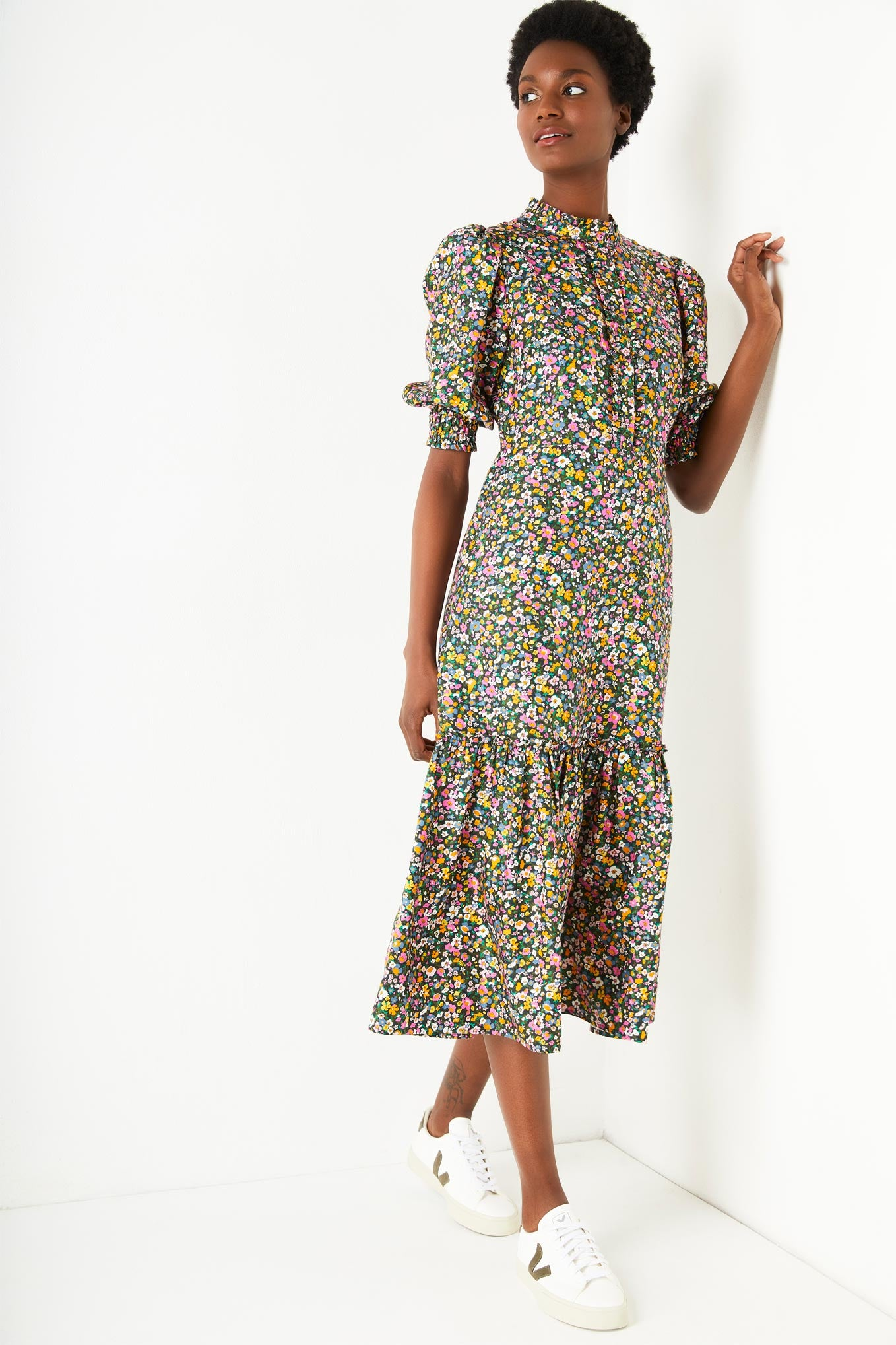 Celina 70s Ditsy Print Dress - Multi