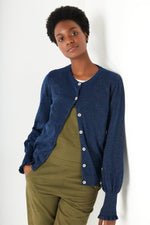 Selena Star Pointelle Cardigan - Navy