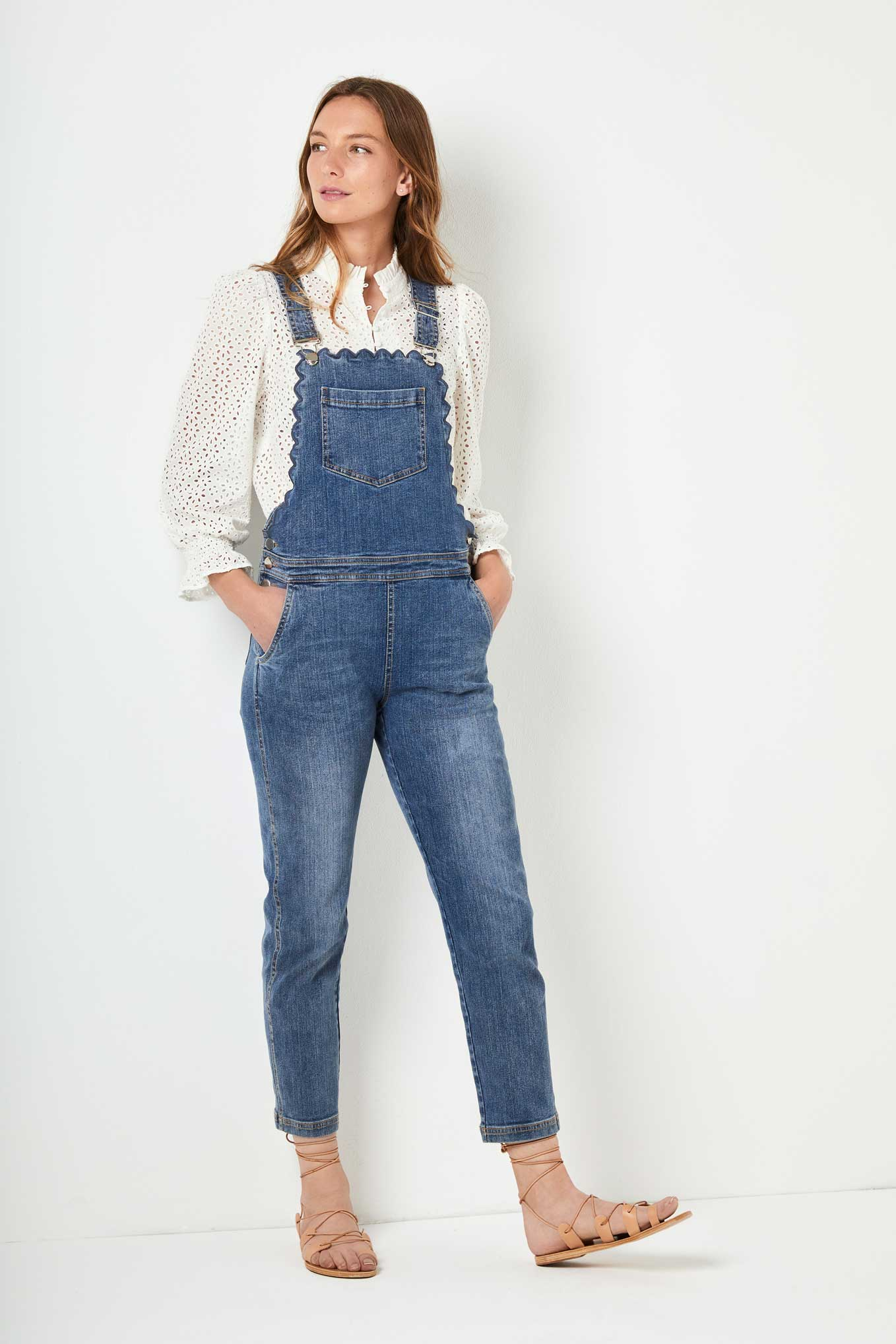 Scarlett Scallop Dungaree - Mid Wash