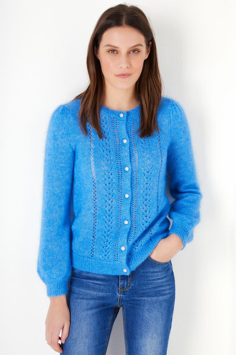 Polly Pointelle Mohair Cardigan - Blue