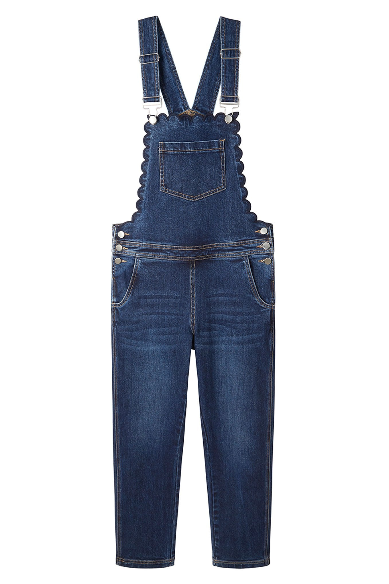 Scarlett Scallop Longer Length Dungarees - Rinse