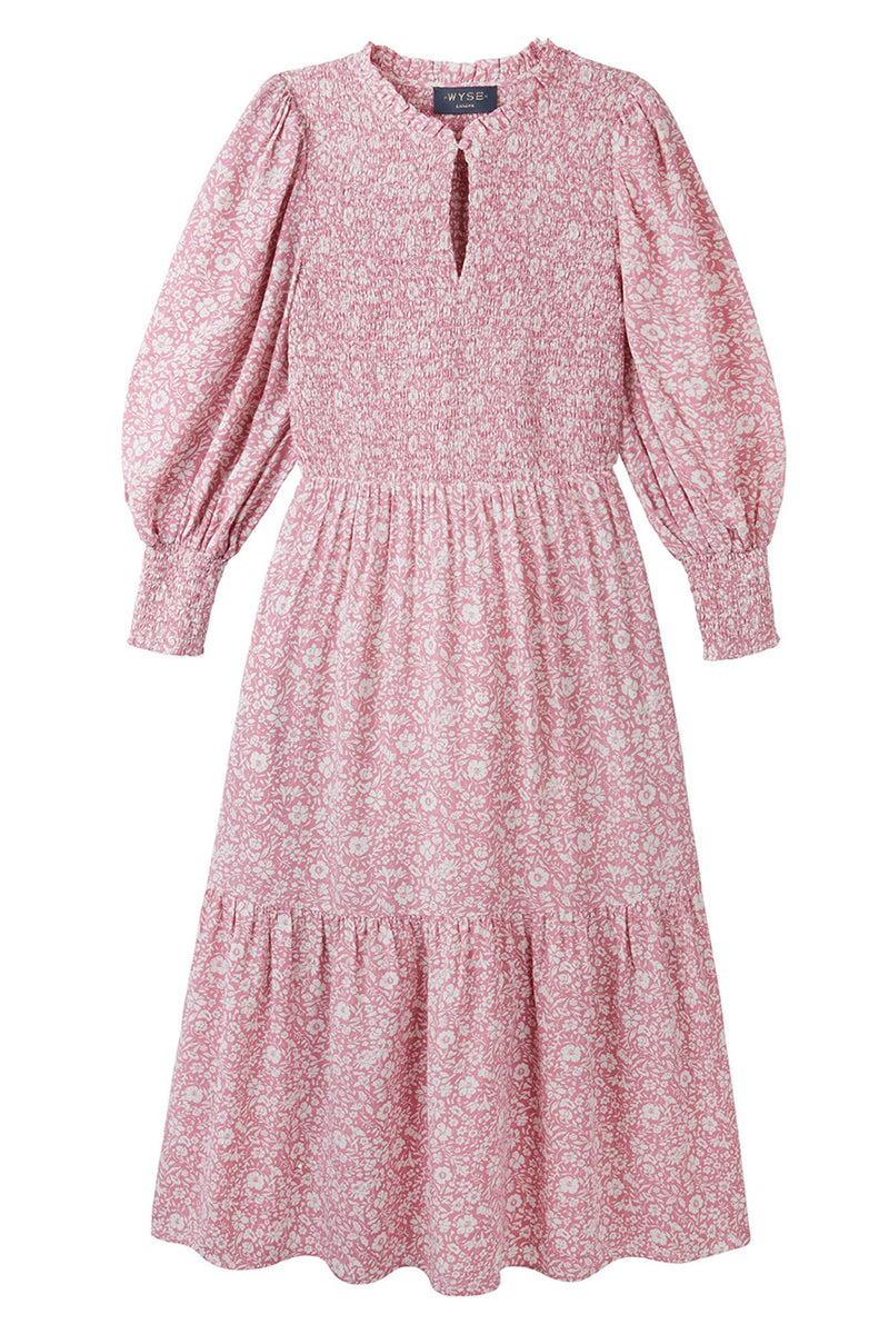 Sabine Two Tone Floral Print Dress - Pink