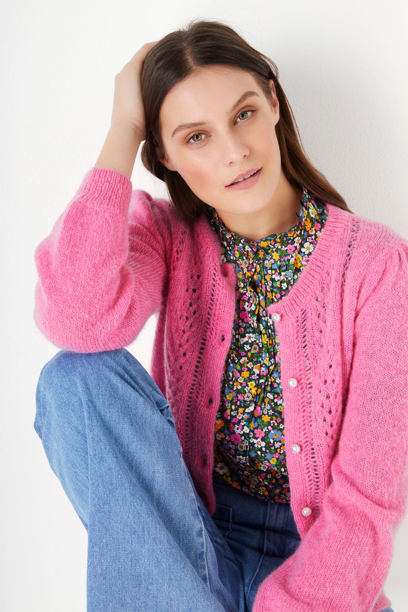 Polly Pointelle Mohair Cardigan - Pink