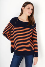 Clemence Stripe Breton - Navy/Orange
