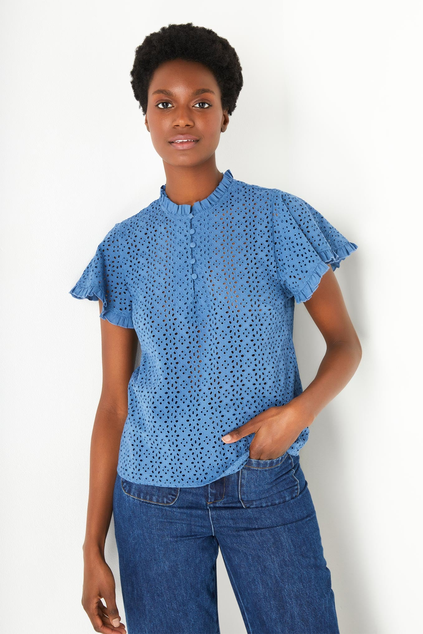 Francoise Lace Top - Denim