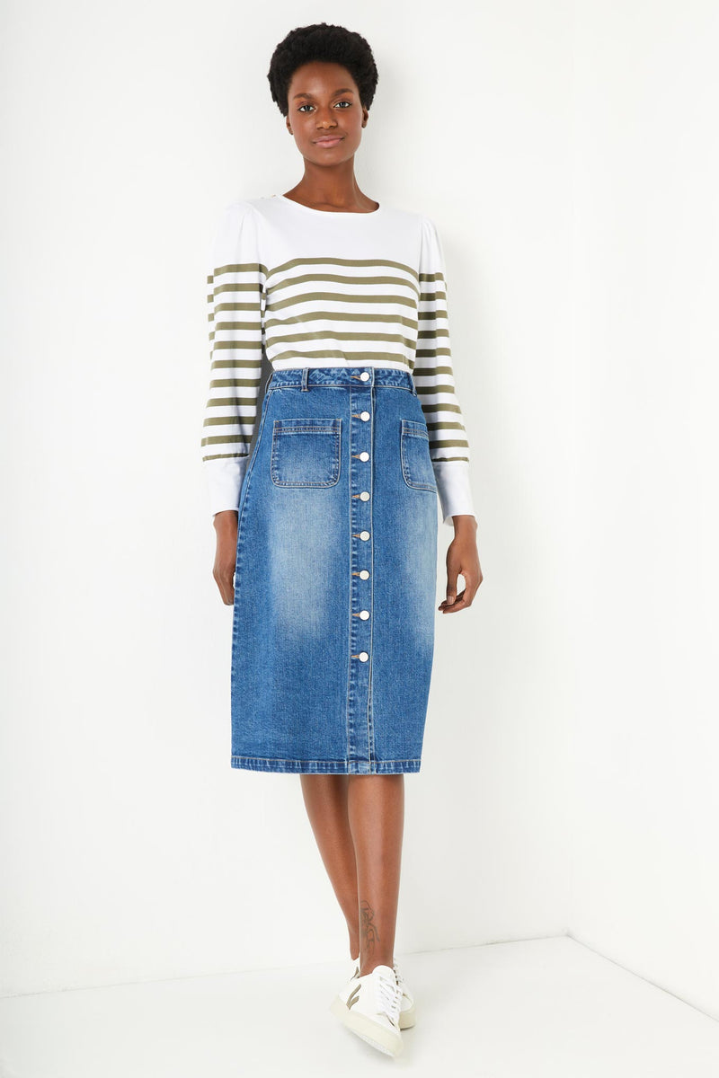 Vanessa Button Through Denim Skirt - Denim