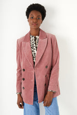 Double Breasted Cord Jacket - Pink