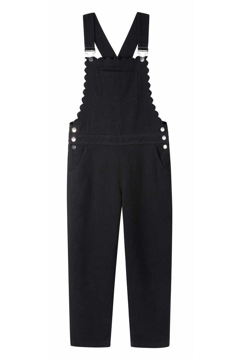 Scarlett Scallop Dungaree - Black