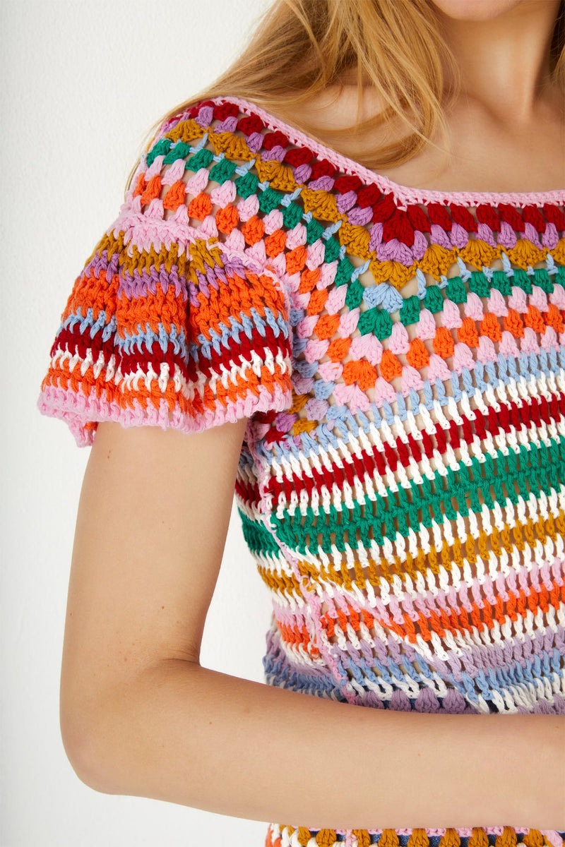 Estelle Crochet Flutter Sleeve Top - Multi