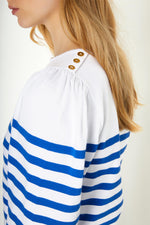 Amelie Breton Stripe - White/French Navy