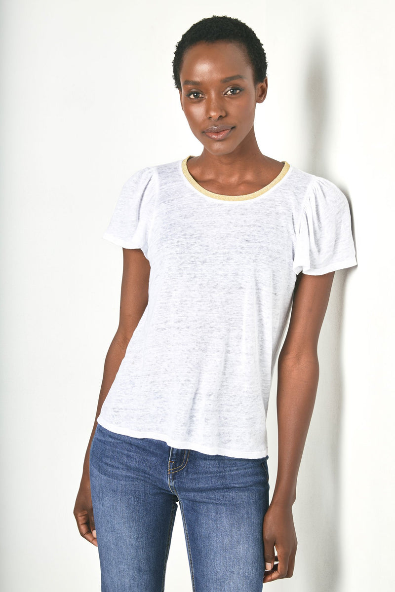 Lily Lurex Trim Puff Sleeve Tee - White