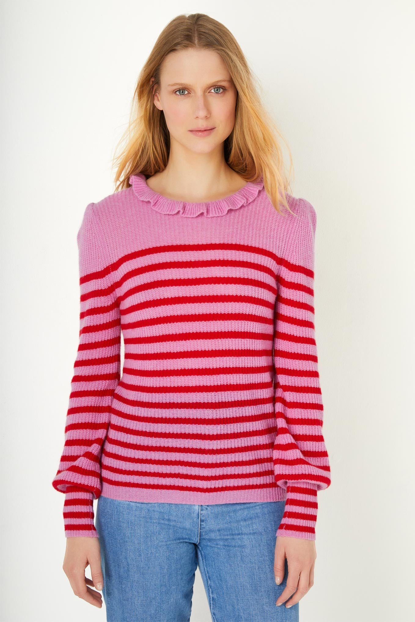 Simone Stripe Ruffle Neck Jumper - Pink/Red