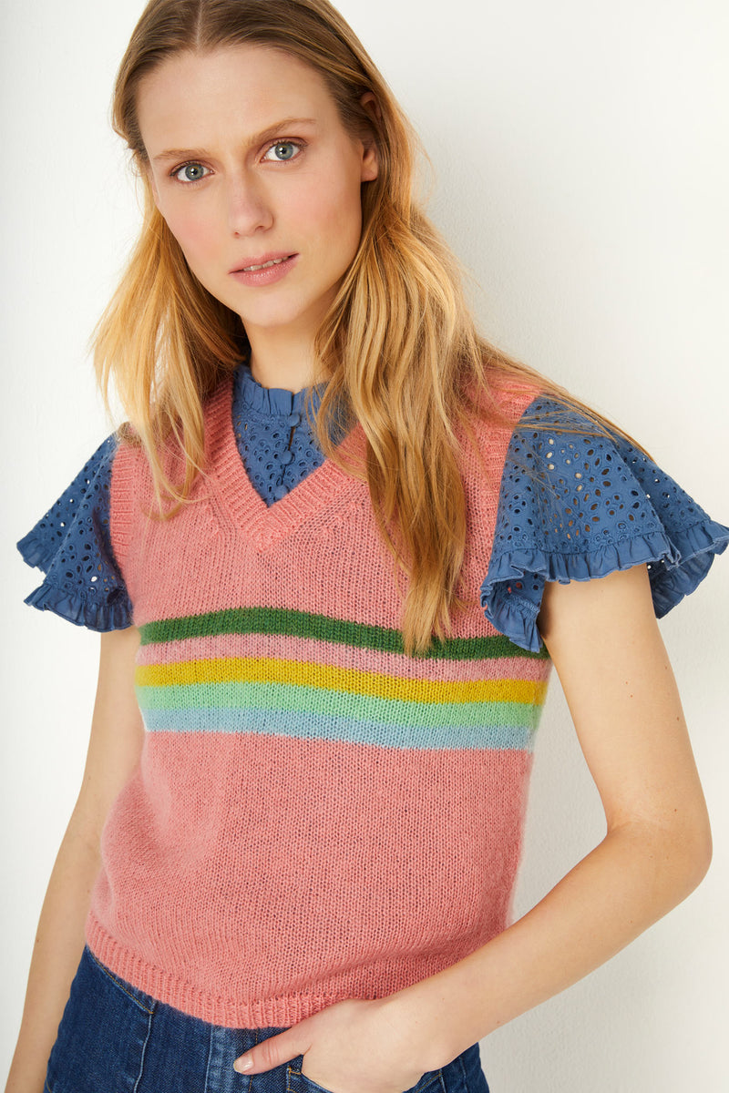 Rainbow Stripe Tank - Peach