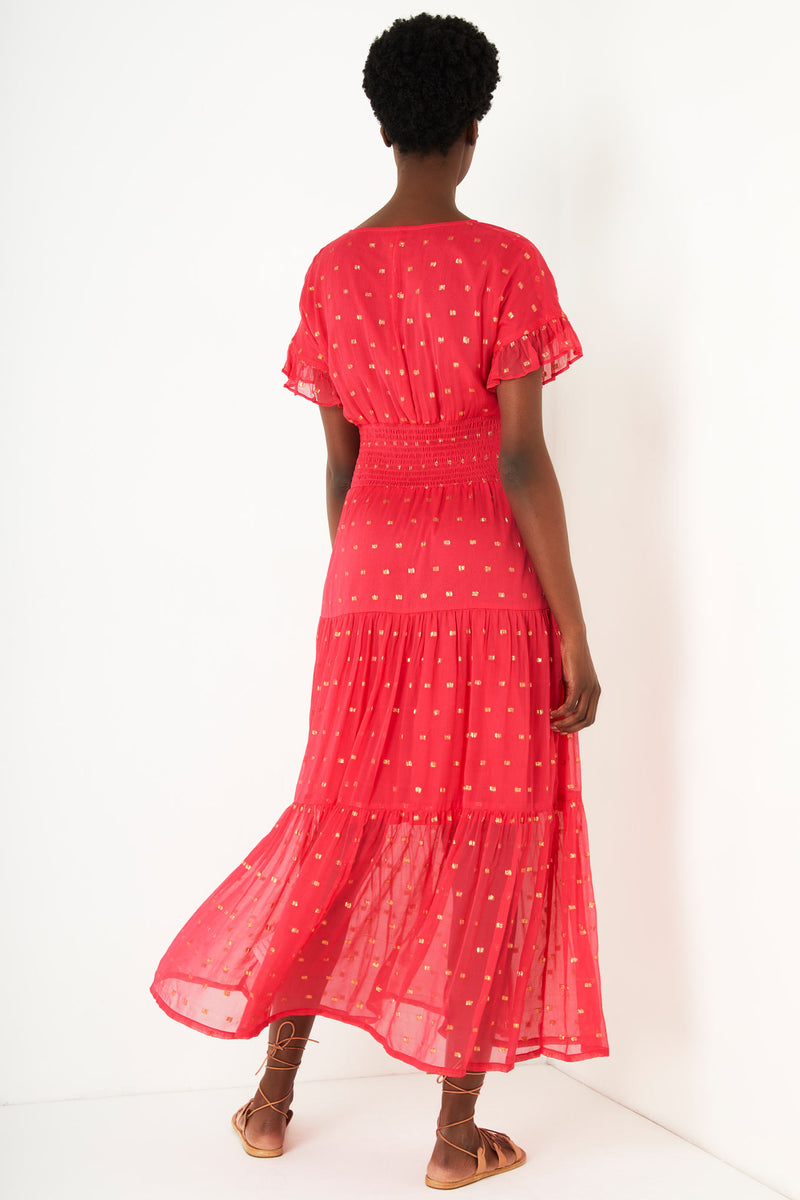 Audette Lurex Spot Dress - Rose Red