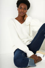 Bella Cotton V-Neck Jumper - White