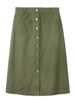 Vanessa Button Through Skirt - Khaki