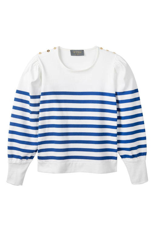 Lightweight Amelie Breton Puff Sleeve Stripe Top - White/French Navy