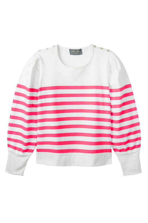 Amelie Breton Puff Sleeve Stripe Top - White/Watermelon