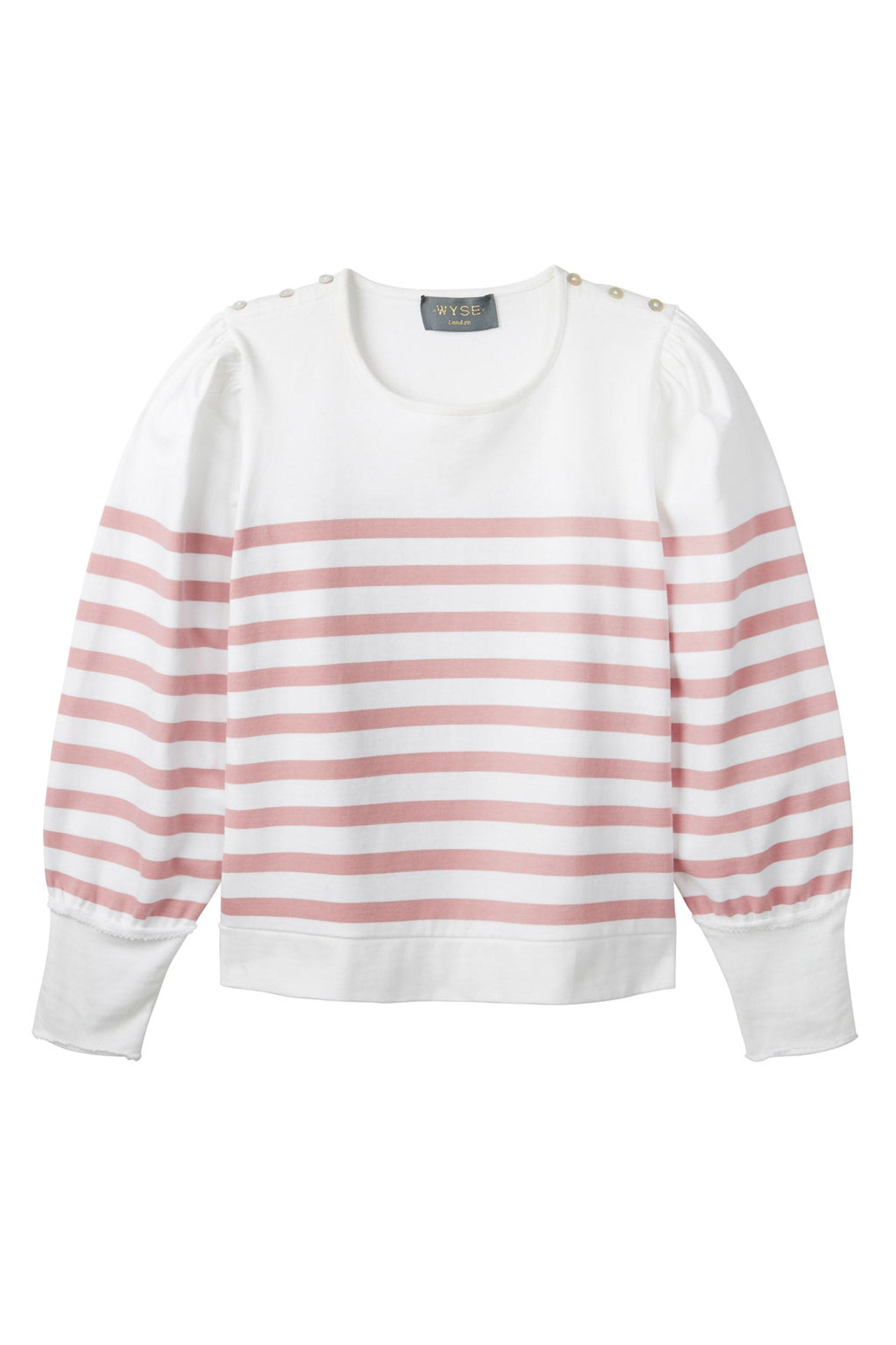 Lightweight Amelie Breton Puff Sleeve Stripe Top - White/Pink