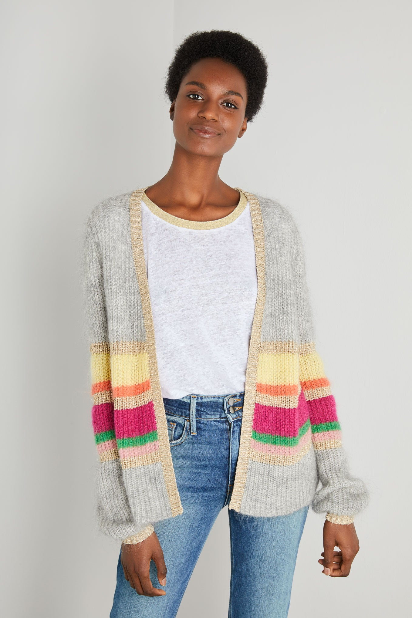 ANGELA MOHAIR CARDIGAN - Grey