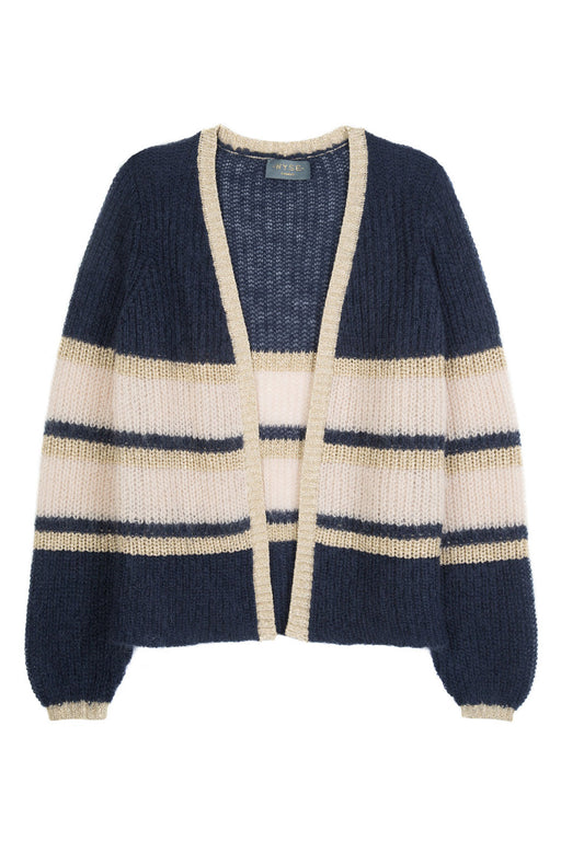 ANGELA MOHAIR STRIPE CARDIGAN - Anthracite/Taupe