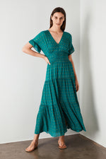 Audette Lurex Dress - Emerald Green