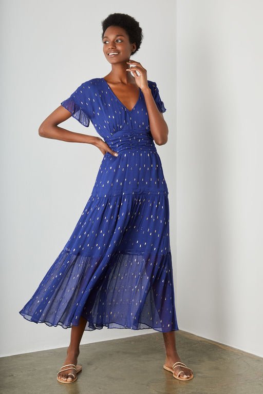 Audette Lurex Dress - Blue