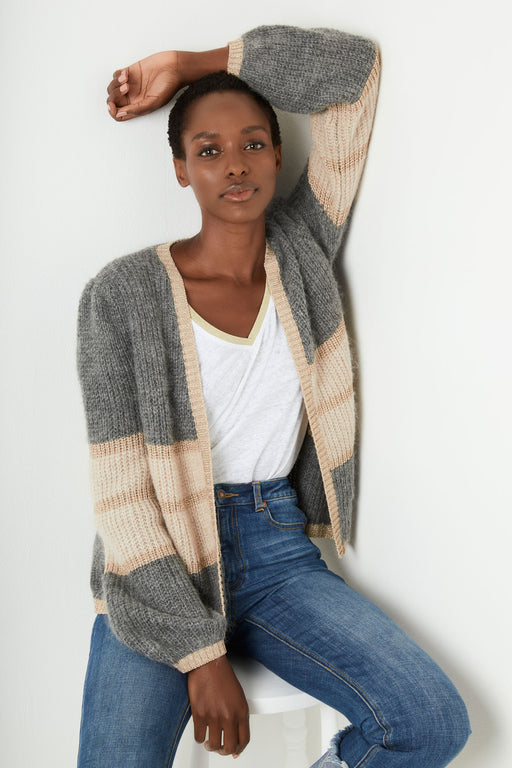 Angela Cardigan - Grey/Taupe