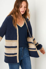 Angela Cardigan - Navy/Taupe