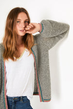 Angelux Lurex Rib Cardigan - Grey