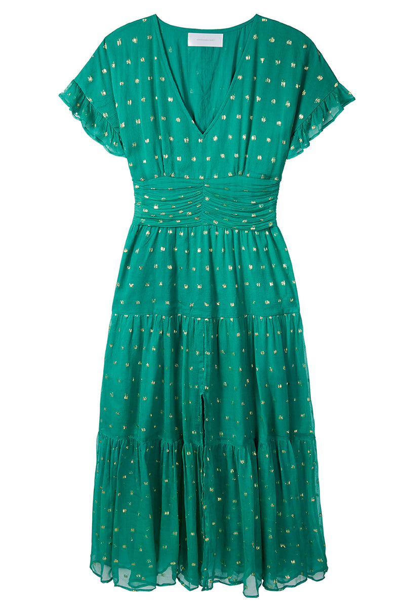 Audette Lurex Spot Dress - Green