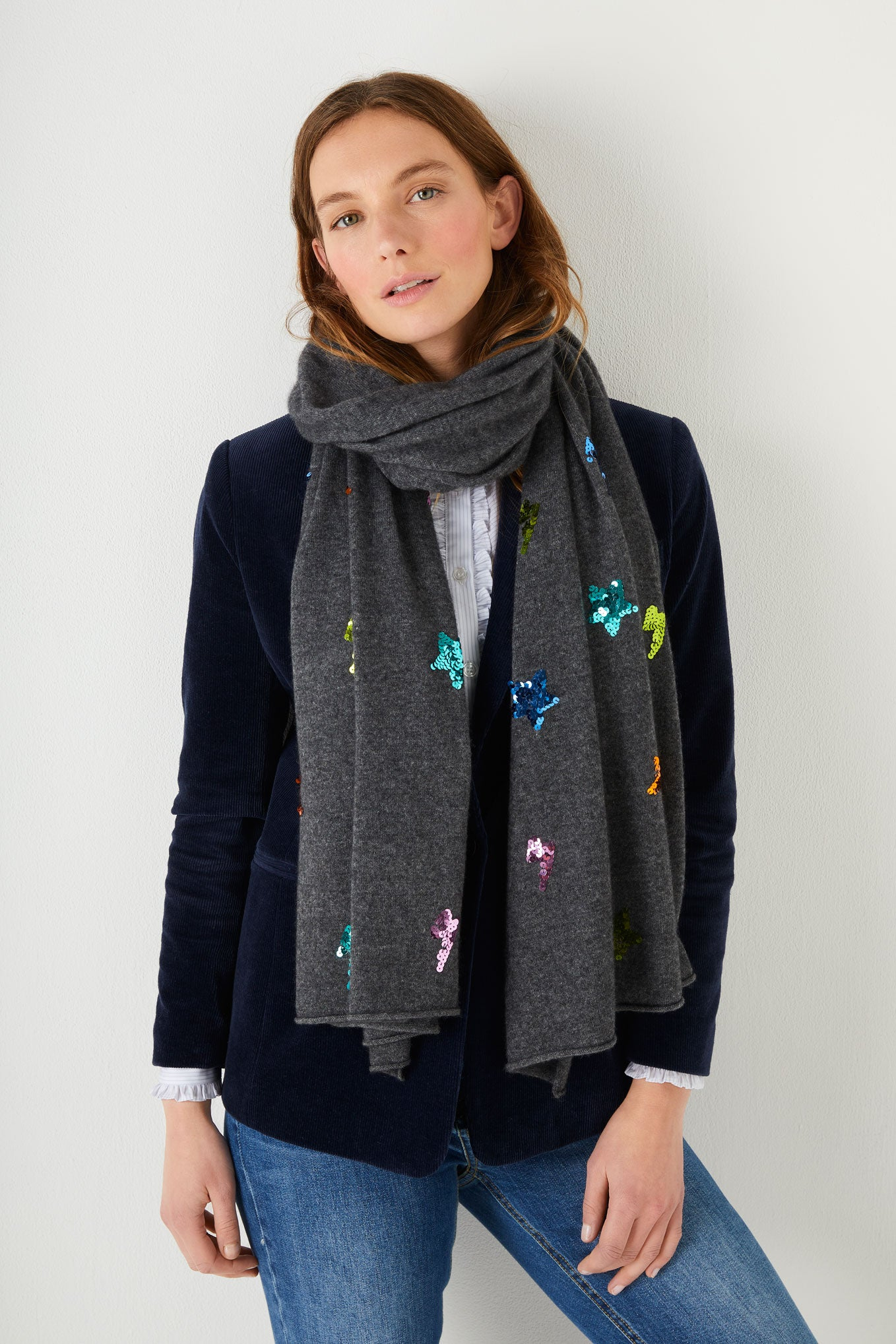 Bella Sequin Star & Lightning Scarf - Charcoal