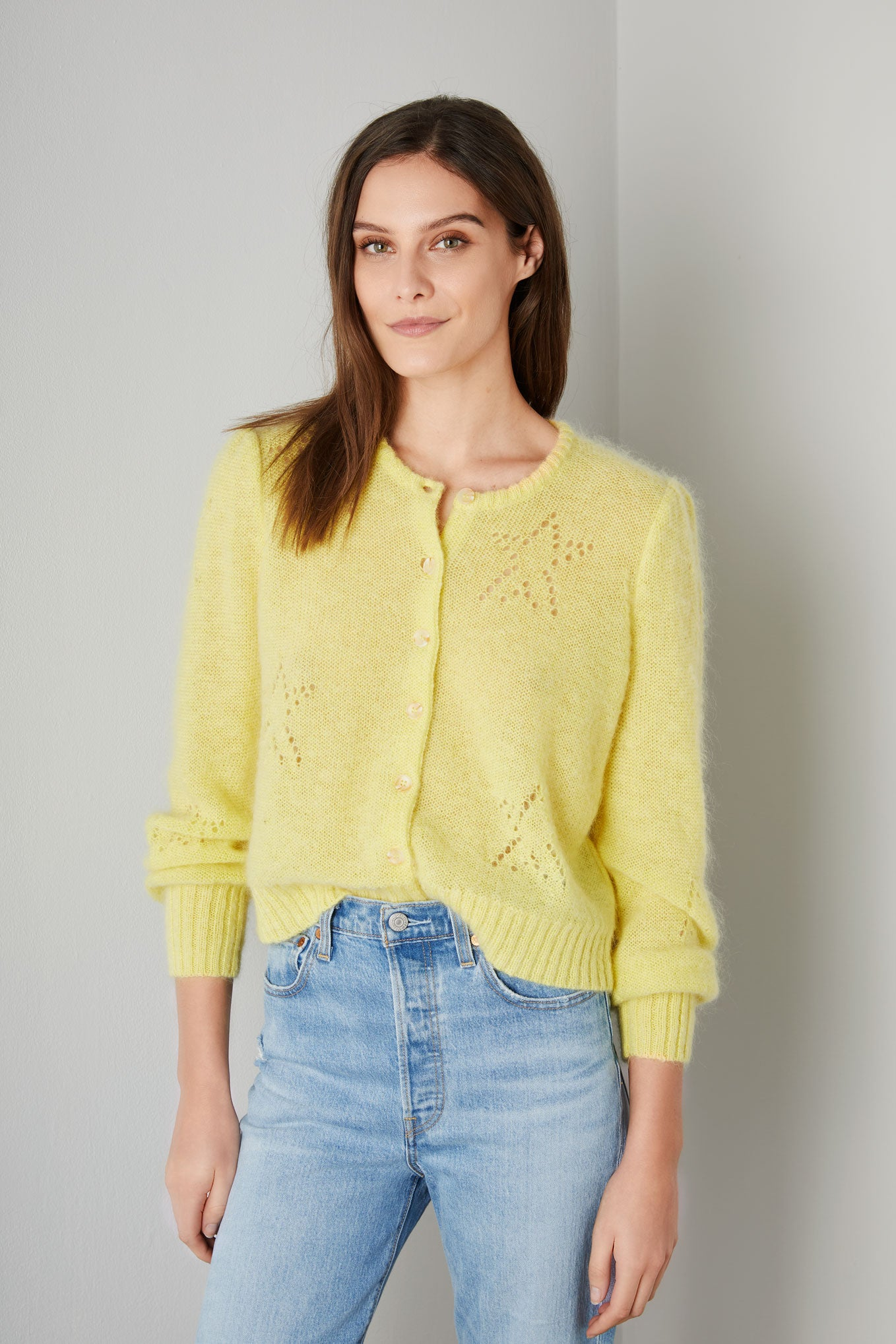 CELESTE POINTELLE STAR MOHAIR CARDIGAN - Yellow