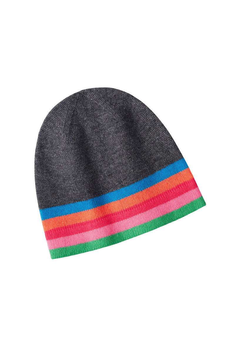 Darcey Stripe Hat - Charcoal