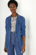 Denim Suit Jacket - Mid Wash